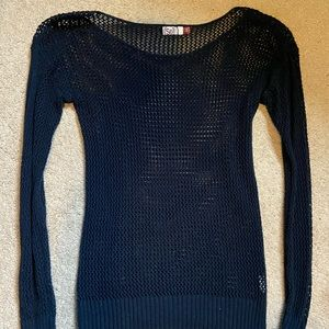 Express Sweater Womens XS Black Crocheted Cable Knit Mock Neck NWT $59